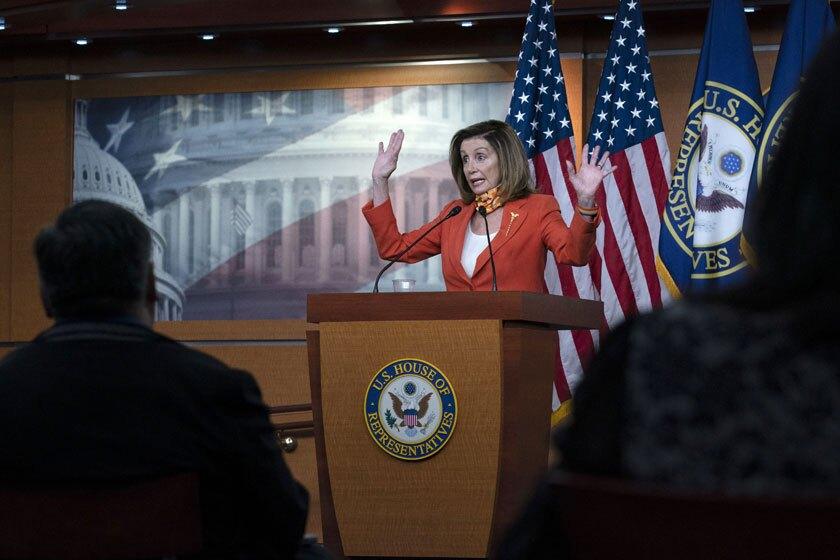 House Speaker Nancy Pelosi (D-San Francisco) at a news conference last week.
