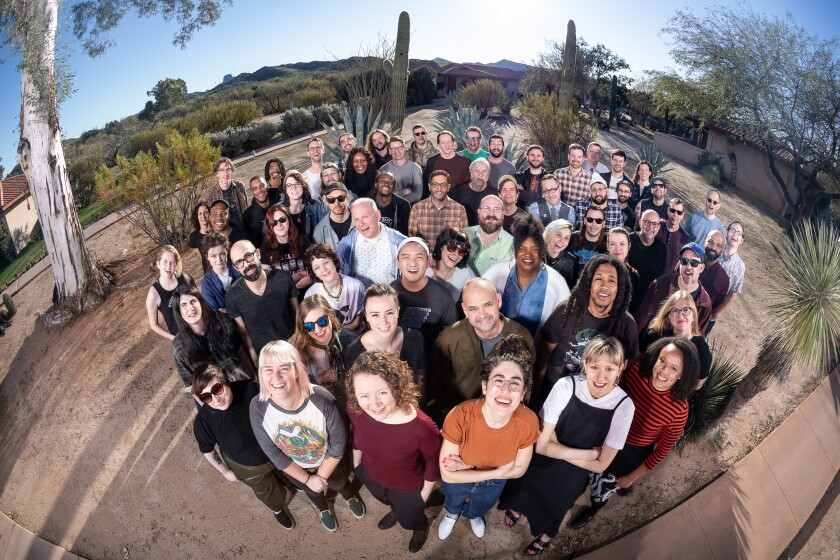 A group shot of the Bandcamp team at their annual meetup in January in Arizona