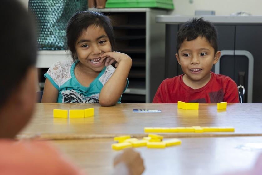 Esperanza Elementary kids dominoes