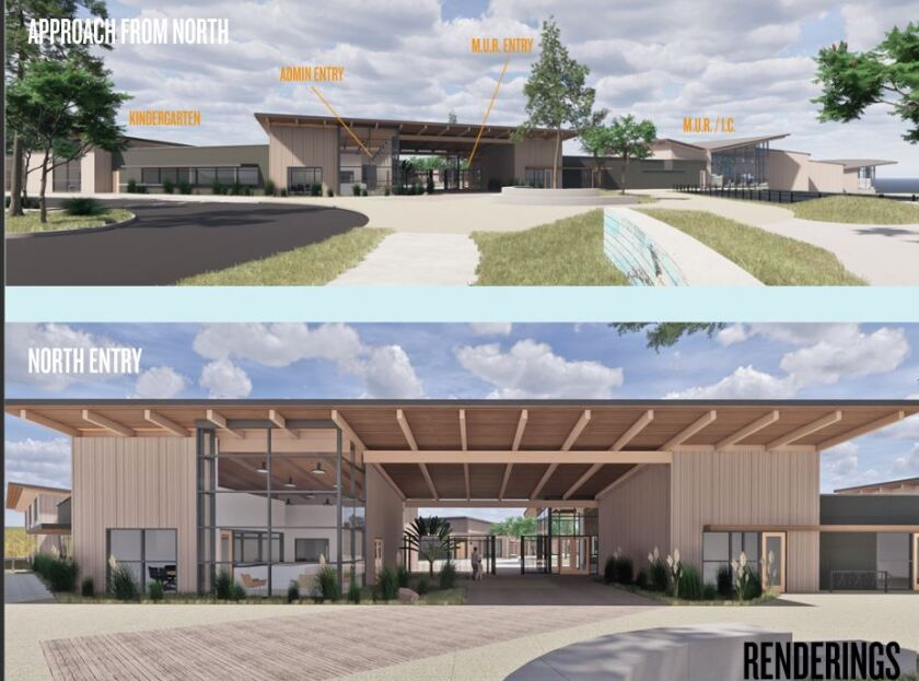 A rendering for the entry of the new Heights school.