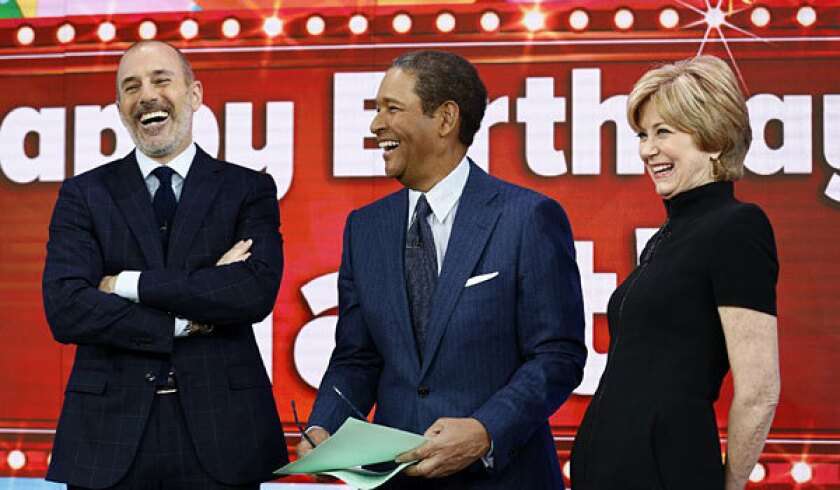 """From left, Matt Lauer, Bryant Gumbel and Jane Pauley on """"Today."""""""