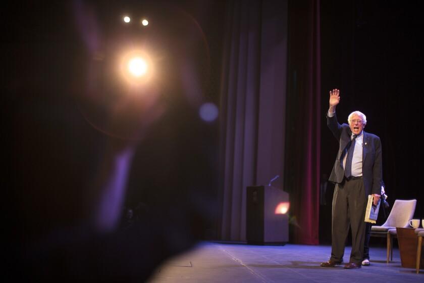 Vermont Sen. Bernie Sanders speaks to a sold-out crowd in a Glendale, Calif. theater last week.