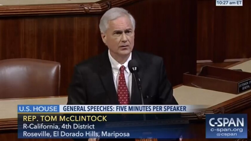 Rep. Tom McClintock (R-Elk Grove), rattled by constituent sentiment, sounds the call for civility from the House floor.