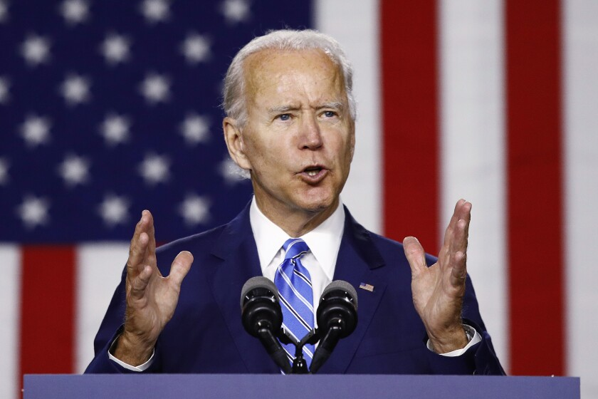Former Vice President Joe Biden speaks during a campaign event July 14 in Wilmington, Del.