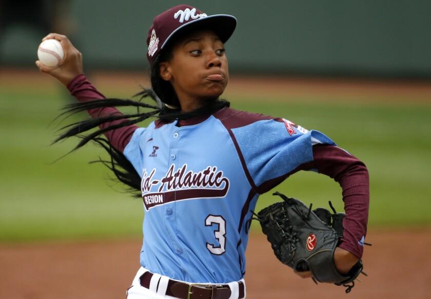 Philadelphia's Mo'ne Davis pitches against Nashville at the 2014 Little League World Series.
