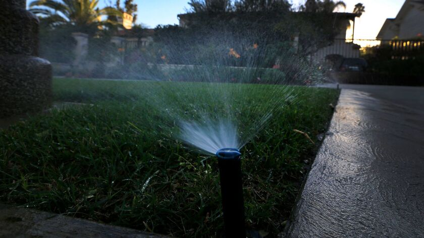 Sprinklers water a lawn at dusk on Oct. 30, 2015.