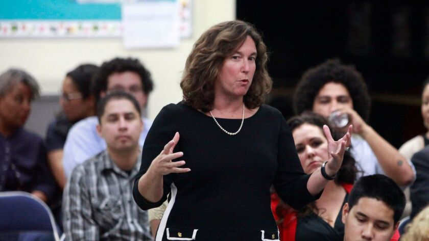 San Diego Unified School District Superintendent Cindy Marten speaks at a community meeting. (Misael Virgen U-T)