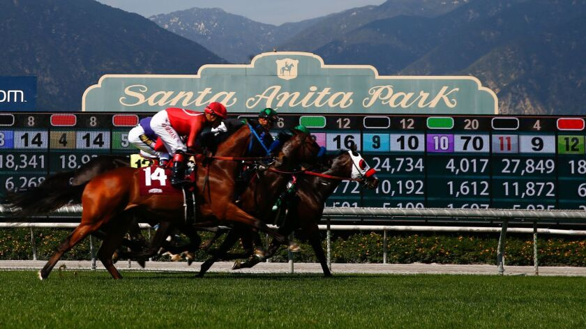 ARCADIA, CALIF. - APRIL 06: Jockeys and their horses race in the Providencia Stakes (Grade III) at S