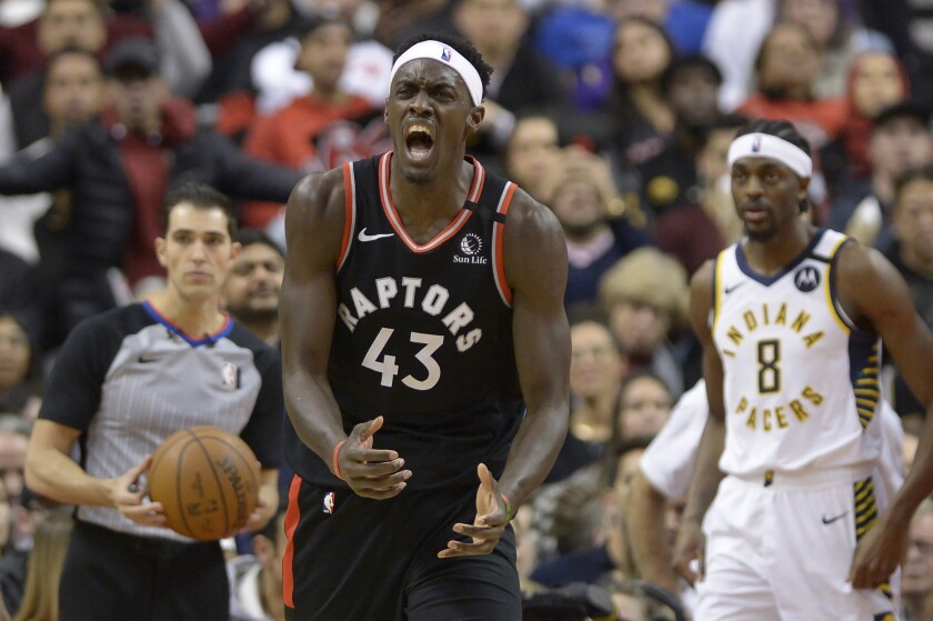 Toronto Raptors forward Pascal Siakam (43) reacts after a non-call during the second half of an NBA basketball game, Wednesday, Feb. 5, 2020 in Toronto. (Nathan Denette/The Canadian Press via AP)