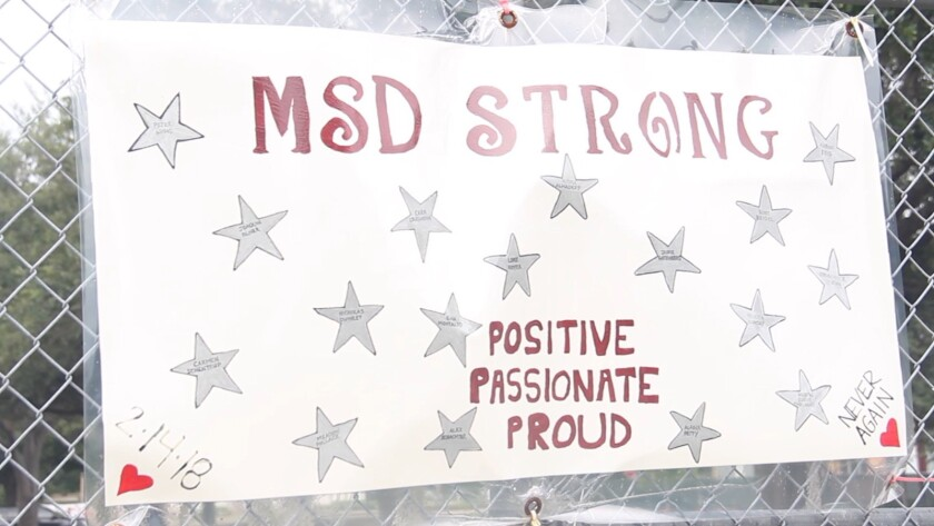 "A photograph of a sign outside of Marjory Stonman Douglas High school from the film ""Parkland: Insid"