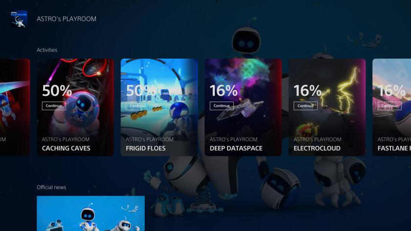 """Screenshot of """"Astro's Playroom"""" on the PlayStation 5"""
