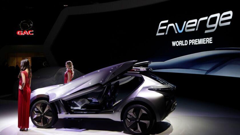 GAC unveils the Enverge electric concept vehicle in Detroit.