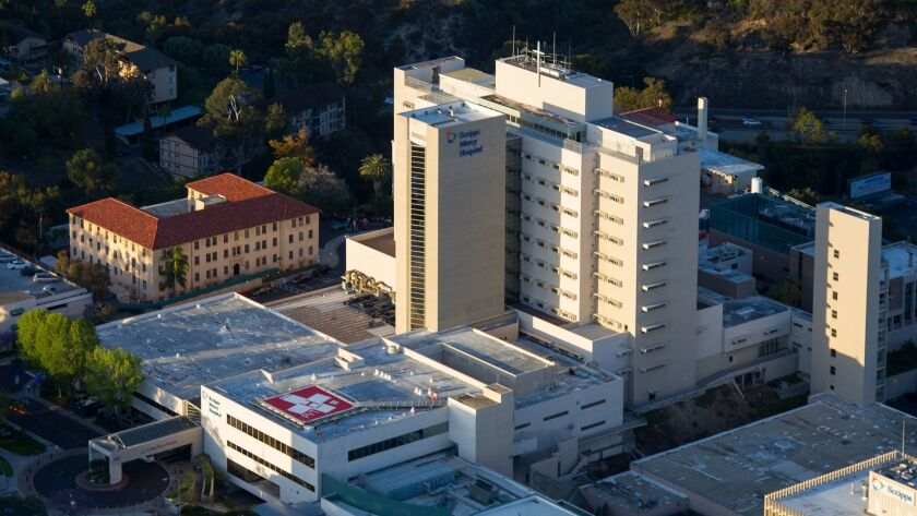 An aerial view of Scripps Mercy Hospital in San Diego.