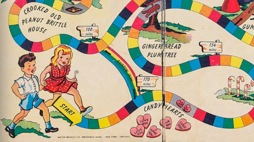 A portion of the original Candy Land game board, manufactured in 1949, shows what resembles a polio brace of that era on the leg of the boy at the game's starting point.
