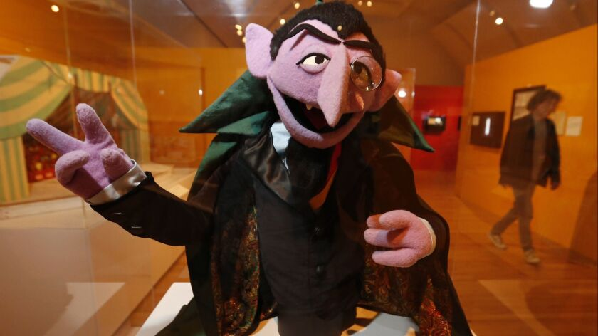 LOS ANGELES, CA – May 29, 2018: The Count von Count puppet on exhibit at The Skirball Cultural Cen
