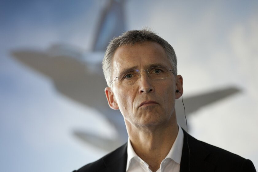 NATO Secretary General Jens Stoltenberg attends a press conference after the NATO military demonstration in Zaragoza, Spain, Wednesday Nov. 4, 2015. NATO is putting on its most fearsome display of military might in over a decade with soldiers, ships and planes meant to hone and test its abilities a