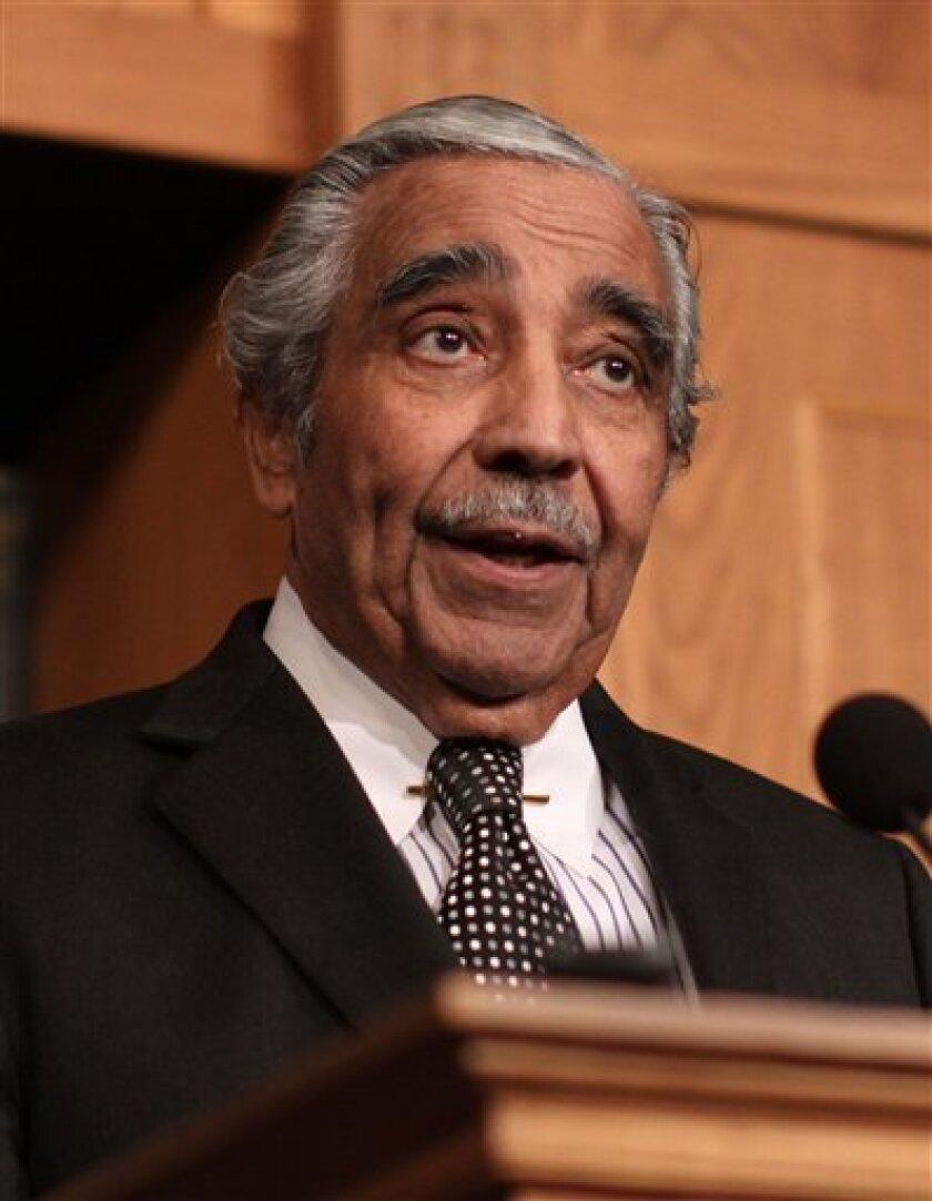 FILE - In this Feb. 25, 2010 file photo, House Way and Means Committee Chairman Rep. Charlie Rangel, D-N.Y., makes a statement on Capitol Hill in Washington, regarding an ethics panel's finding against him. Rangel is denying that he's stepping down as chairman of the tax-writing House Ways and Means Committee. (AP Photo/Lauren Victoria Burke, File)