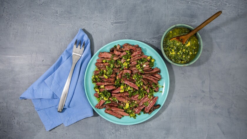LOS ANGELES, CA--JUNE 13, 2019--Skirt steak with marjoram and lime salsa, from Los Angeles Times foo