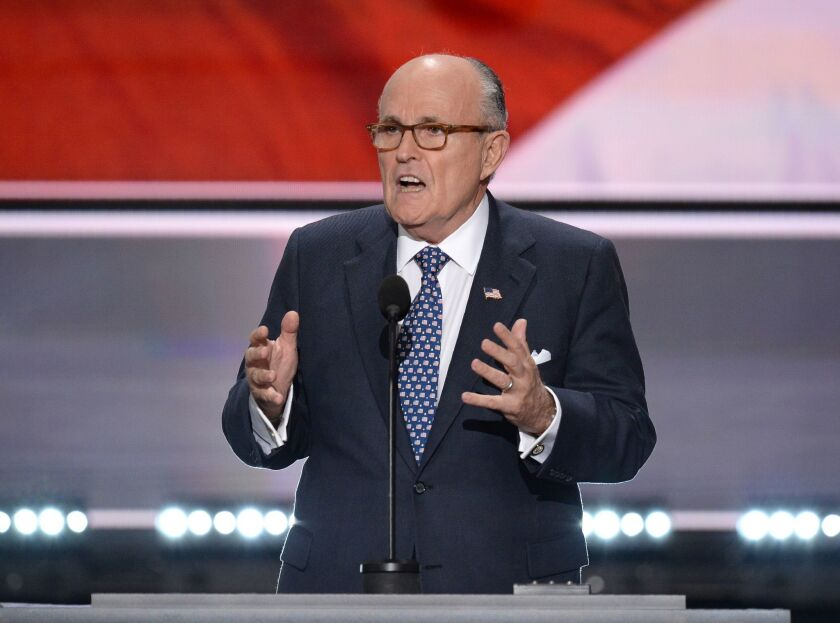 Former New York Mayor Rudy Giuliani, now President Trump's personal attorney and spokesman in matters related to the Russia probe, prepares to address the Republican National Convention on Trump's behalf in July 2016.