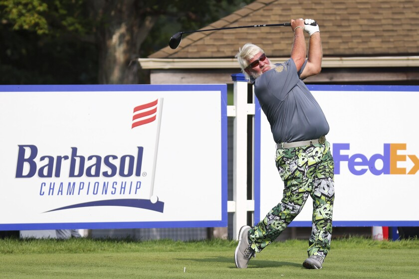 John Daly tees off on the fifth hole during the first round of the Barbasol Championship golf tournament on Thursday, July 15, 2021, at Keene Trace Golf Club in Nicholasville, Ky. (Michael Clubb/Courier Journal via AP)