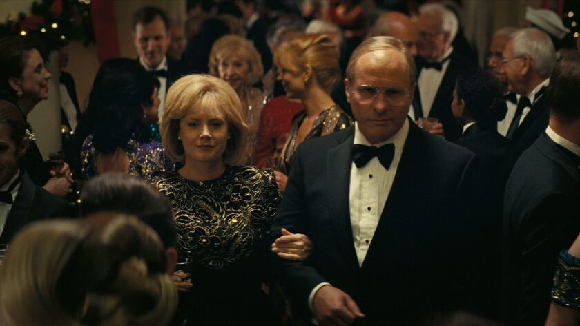 """Amy Adams (left) as Lynne Cheney and Christian Bale (right) as Dick Cheney in Adam McKay?s """"Vice."""""""