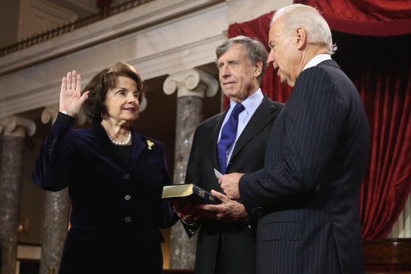 Dianne Feinstein officially backs Joe Biden for president over her fellow California senator, Kamala Harris
