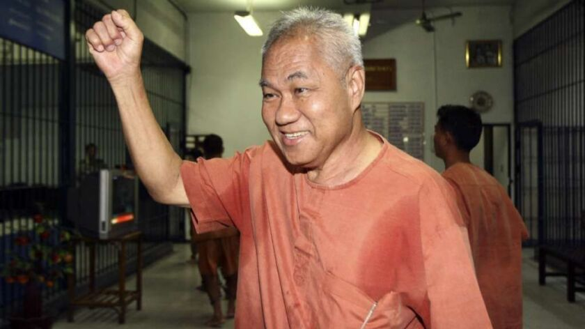 Thai dissident Surachai Danwattananusorn, seen in a 2012 court appearance in Bangkok, fled into exile in Laos but has been missing since last year.