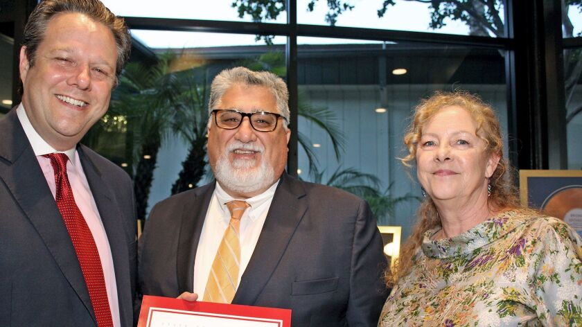 State Senator Anthony Portantino (center) presents a State Certificate of Recognition to Robert Scha