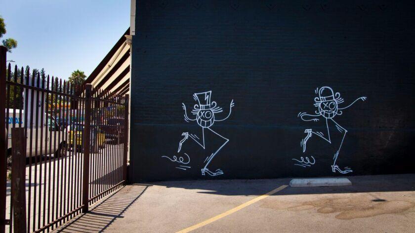 Graffiti art by André Saraiva painted circa 2010 on a wall at 4645 Hollywood Blvd. in Los Feliz.