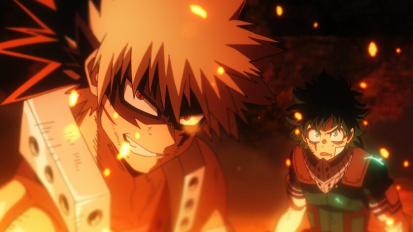 "Katsuki Bakugo, left, and Izuku ""Deku"" Midoriya in the movie 'My Hero Academia: Heroes Rising'"