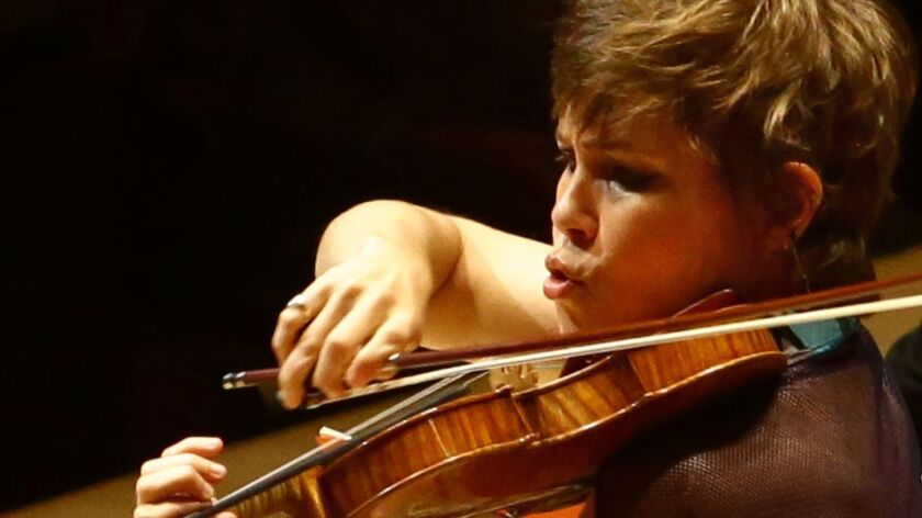 "Leila Josefowicz performs the U.S. premiere of Luca Francesconi's ""Duende: The Dark Notes"" with the Los Angeles Philharmonic on Friday night at Walt Disney Concert Hall."