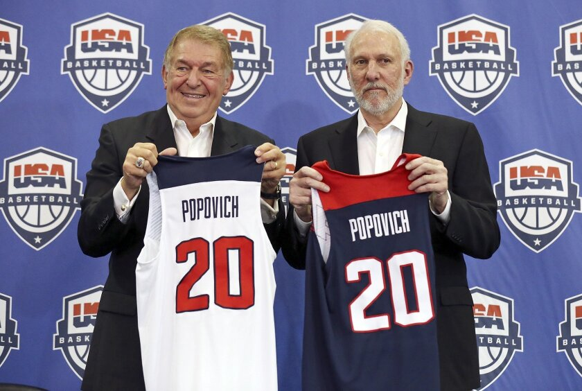 FILE - In this Oct. 23, 2015, file photo, USA Basketball Chairman Jerry Colangelo, left, and Spurs and Team USA head coach Gregg Popovich hold jerseys after a news conference at the Spurs' practice facility in San Antonio. The Americans are so loaded with talent that their biggest challenge this su