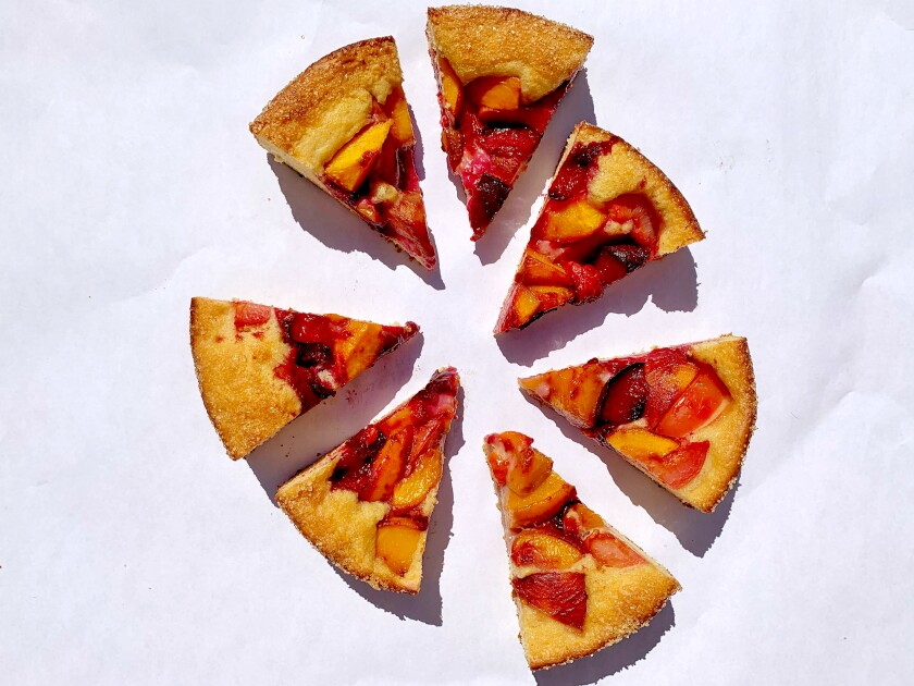 Yeast-risen, buttery cake is the best showcase for wedges of ripe peak-season stone fruit.