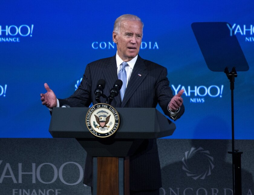 In this Oct. 1, 2015 file photo, Vice President Joe Biden speaks at the 5th Annual Concordia Summit in New York.