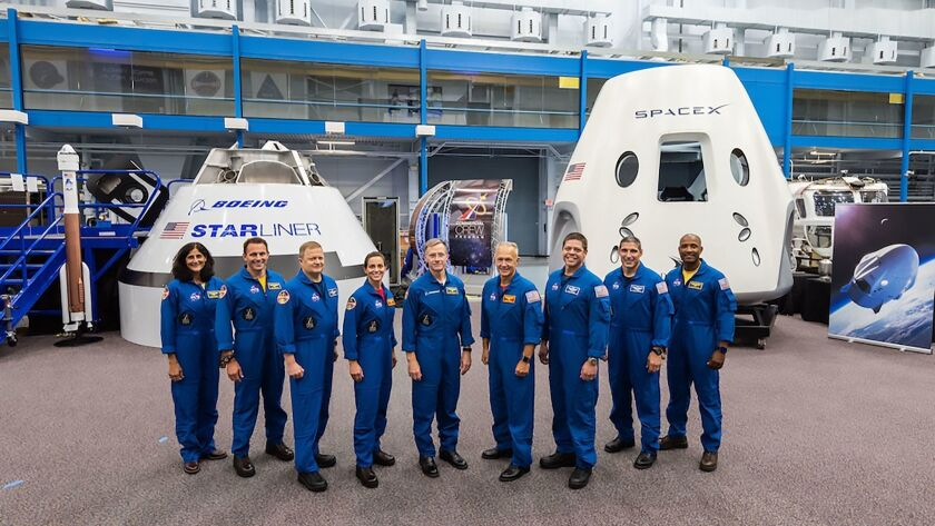 The first U.S. astronauts who will fly to the International Space Station in either Boeing Co. or SpaceX crew capsules. NASA said Thursday that the capsules' first, uncrewed flights will now occur in 2019, instead of this year.