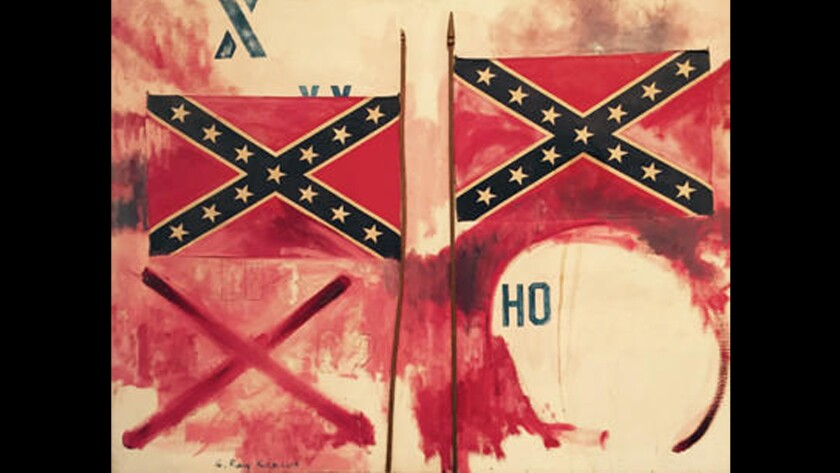 A painting by G. Ray Kerciu depicting the Confederate flag is set to go on display at the Laguna Art Museum.