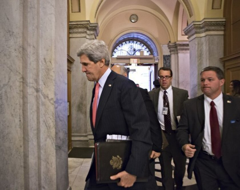 Secretary of State John F. Kerry and national intelligence advisors arrive on Capitol Hill in Washington on Friday to update members of the House on allegations that Syria has used deadly sarin gas in its civil war.