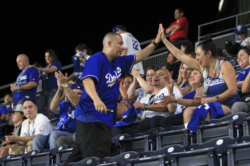 Dodgers fans in San Diego.JPG