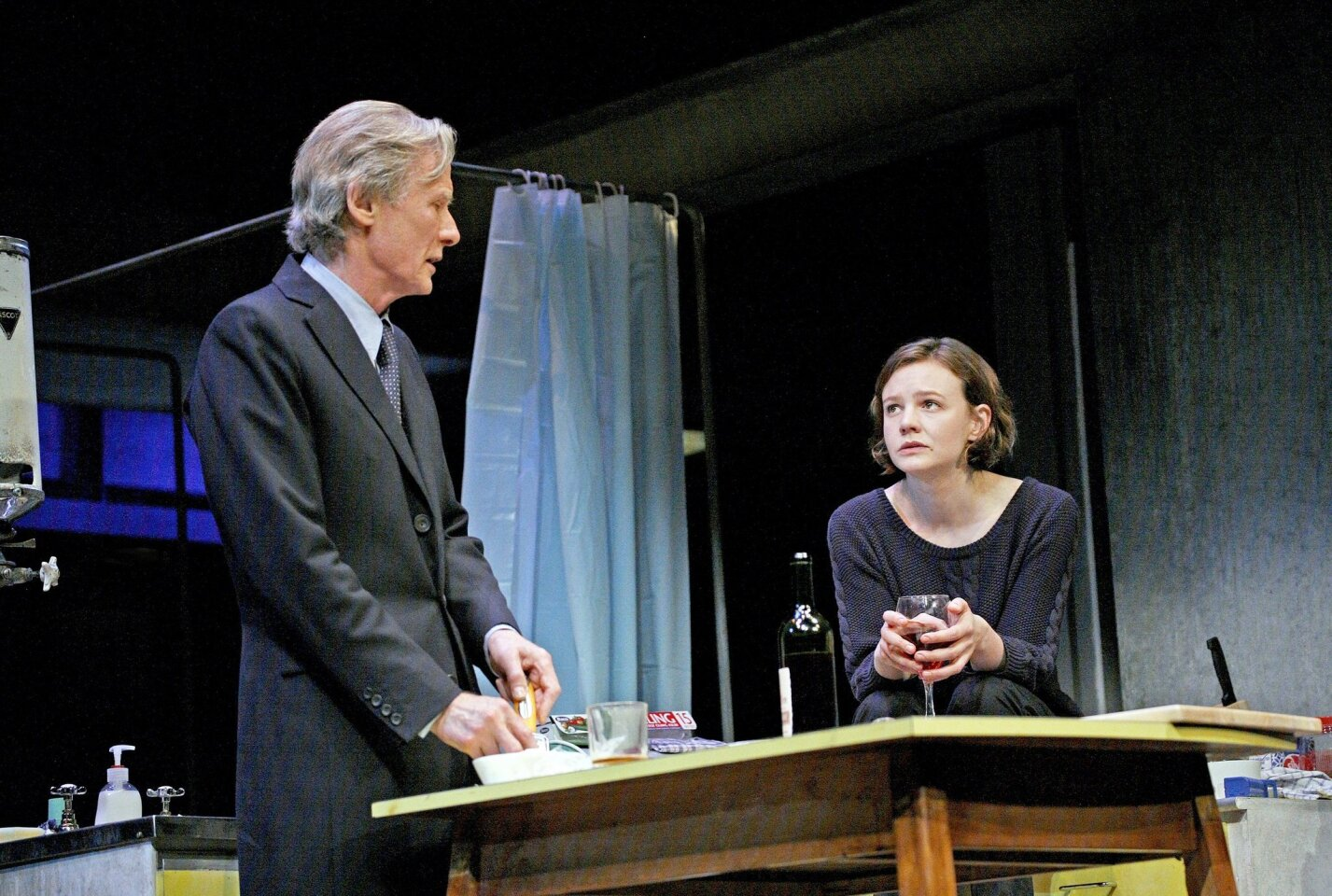 """Bill Nighy, left, and Carey Mulligan in a scene during a performance of """"Skylight,"""" which opened April 2 at the Golden Theater in New York."""