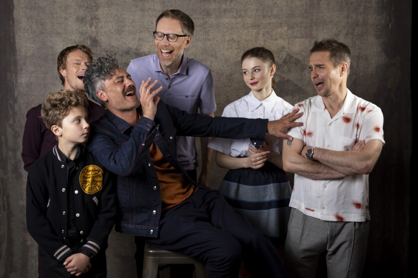 "Actors Alfie Allen, Roman Griffin Davis and Stephen Merchant, director-actor Taika Waititi and actors Thomasin McKenzie and Sam Rockwell from ""Jojo Rabbit."""