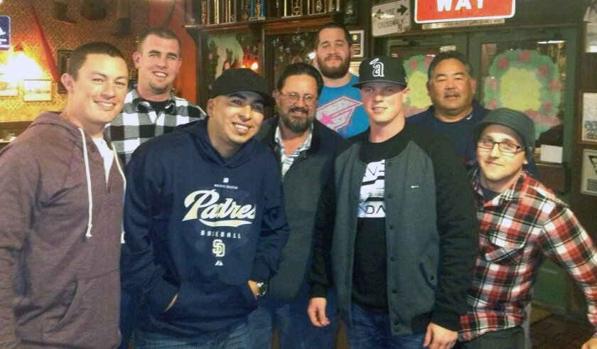 Members of the 2001 Oceanside American Little League team that went to the World Series met for a reunion recently at That Pizza Place in Carlsbad.