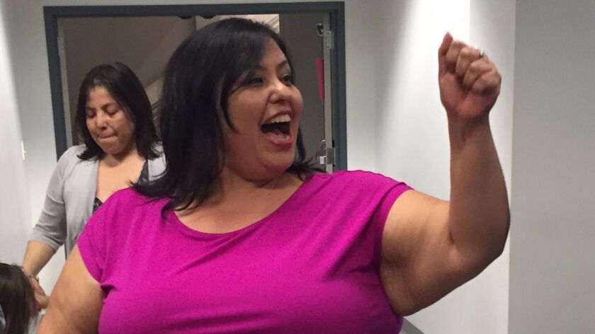 Monica Garcia celebrates her reelection to the L.A. school board in District 2.