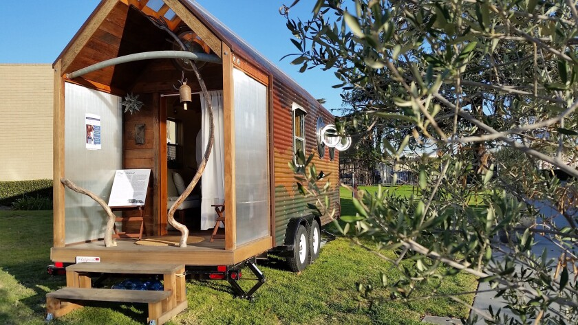 "Artist Dominique Moody will be living at L.A.'s California African American Museum through Saturday in her mobile dwelling, ""Nomad."" Completed this spring, the piece is as much a work of art as it is a functioning home."