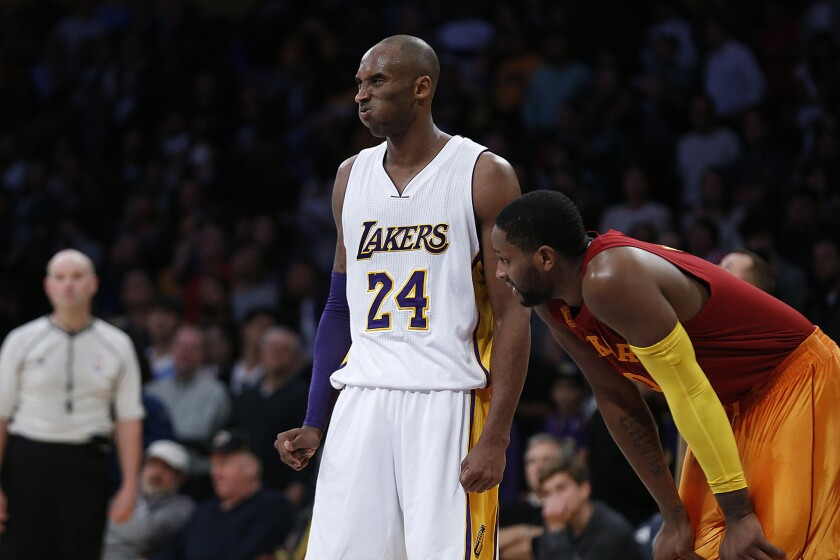Lakers forward Kobe Bryant shows his frustration moments after missing a potential game-tying three-point shot in a loss to the Pacers.