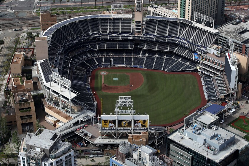 An aerial view of an empty Petco Park in San Diego on March 20.