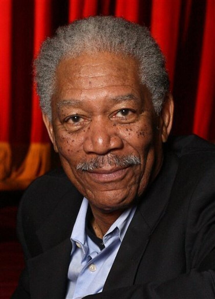 In this April 25, 2008 file photo, actor Morgan Freeman poses in the Jacobs Theater in New York. (AP Photo/Rick Maiman, file)
