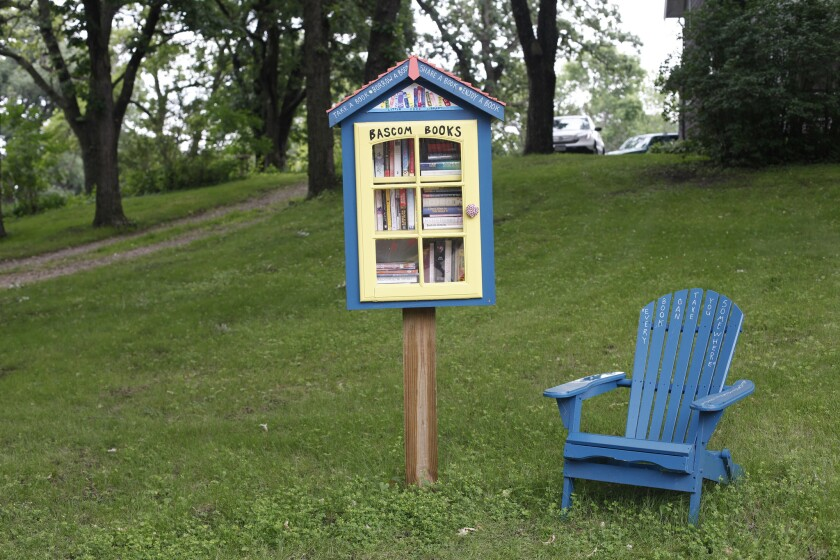A welcoming Little Free Library in Okoboji, Iowa. Another in Texas has been threatened with demolition.