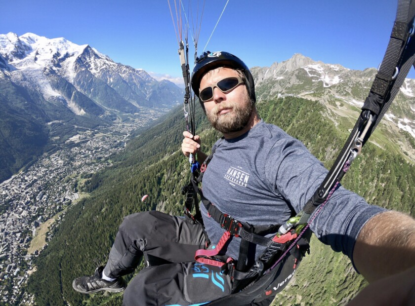 Brandon John Chance, who died Monday while BASE jumping in Idaho, is seen here paragliding in 2018 above the French Alps.