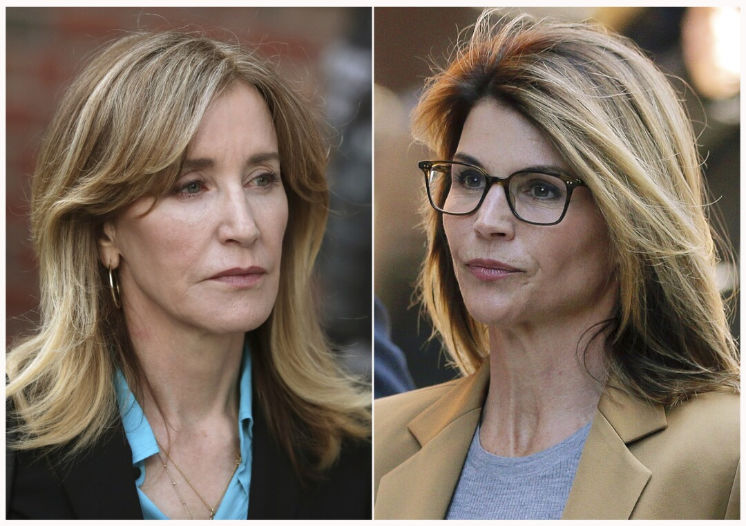 Felicity Huffman, left, and Lori Loughlin outside federal court in Boston on April 3.