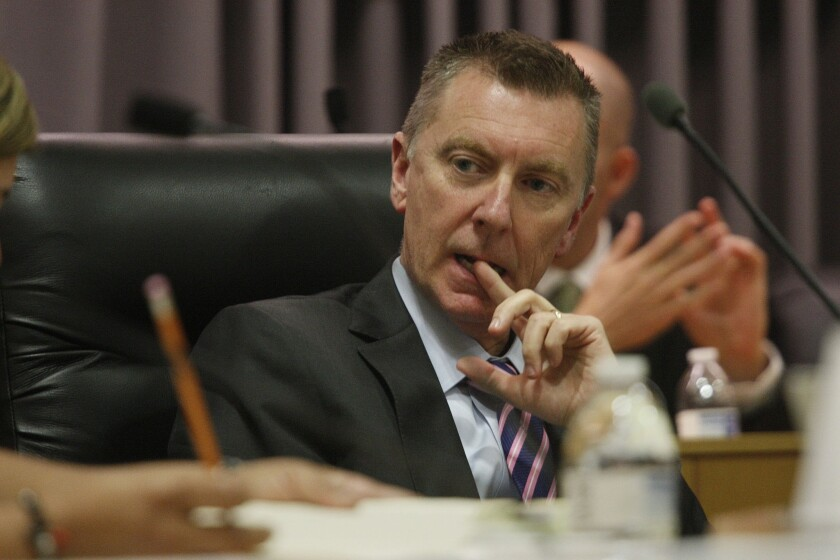LAUSD Supt. John Deasy at a board meeting in August.